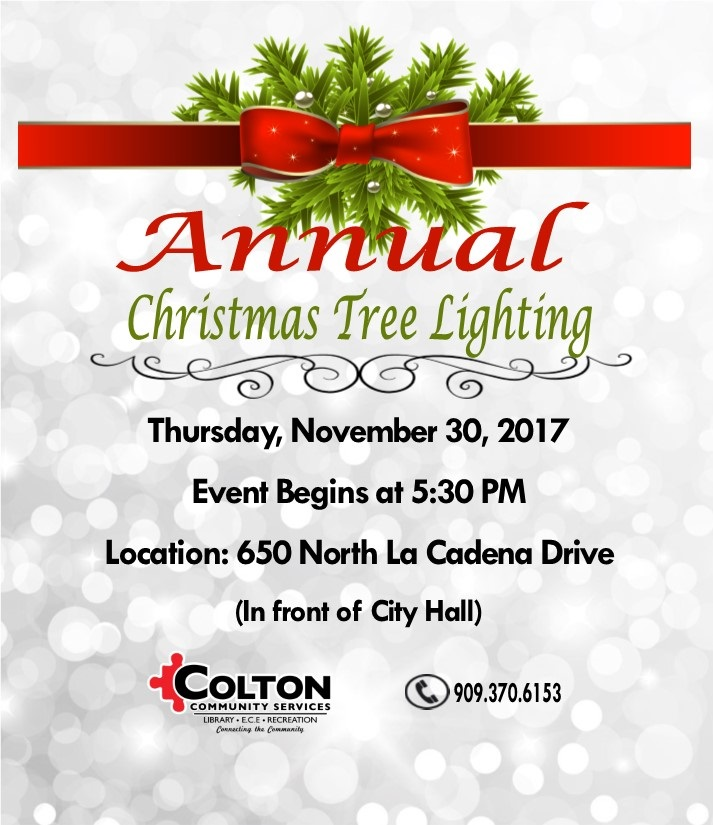 2017 City of Colton Annual Christmas Tree Lighting Flyer